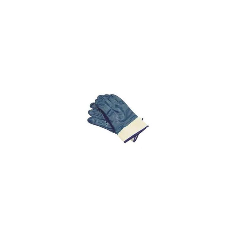 Rękawice robocze nitrylowe - niebieskie z mankietem