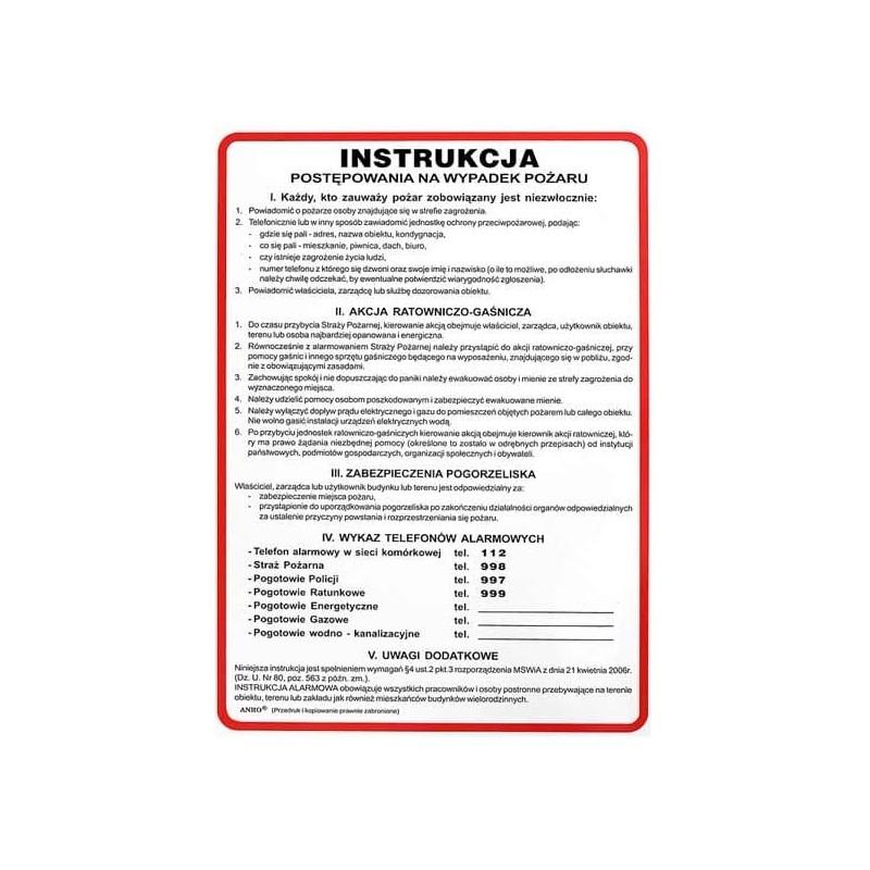 Instrukcja na wypadek powstania pożaru ( alarmowania)