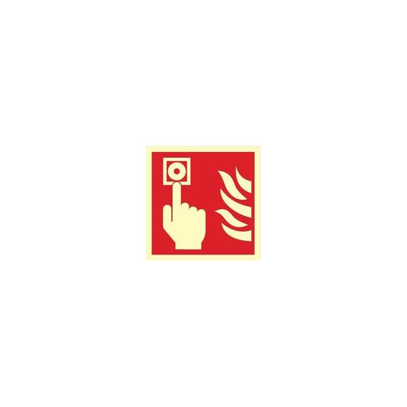 Znak ,,Przycisk alarmowy (uruchamianie ręczne) tzw. ROP