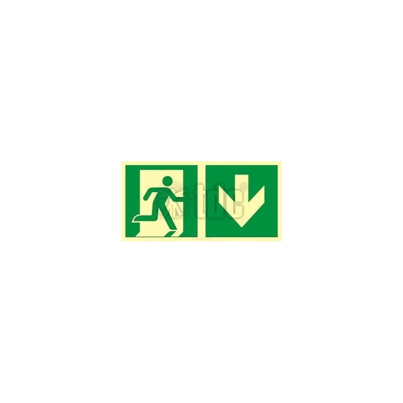 Znak kierunek do wyjścia ewakuacyjnego – w dół (prawostronny)