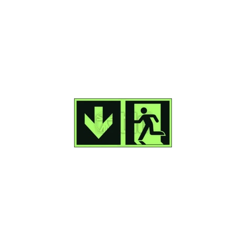 Znak kierunek do wyjścia ewakuacyjnego – w dół (lewostronny)